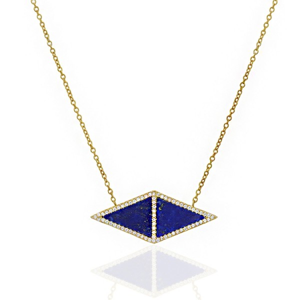 lapis Double Triangle necklace