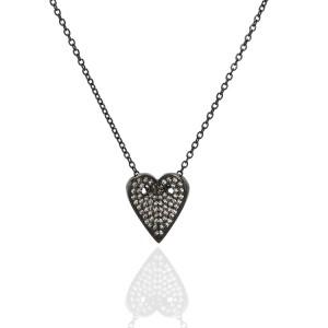 Oxidize Silver Heart